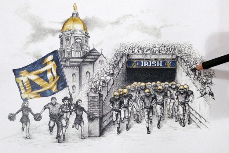 Notre Dame Wall Art notre dame stadium wall art   football gifts   feldfire