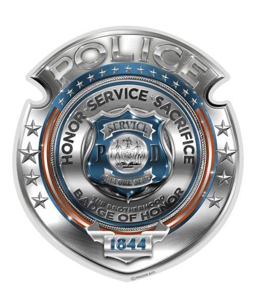 Reflective Decal Police Honor Courage Sacrifice Badge