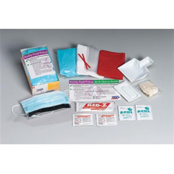 16-Piece Bodily Fluid Clean-Up Kit, Disposable Tray | First Aid Equipment |  Safety Supplies | Fire Equipment