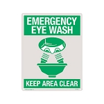 Emergency Eye Wash Rigid Plastic Sign, 8