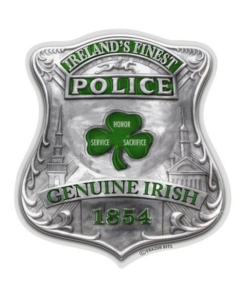 Irish Police: Reflective Decal Garda Irish Police Badge