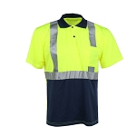 GSS Safety 5003 Class 2 Short Sleeve Polo T-shirt with Black Bottom - Lime