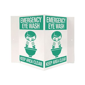 "Emergency Eye Wash 3-D Rigid Plastic Sign, 18"" x 10"""