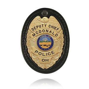 Large Oval Badge Holder W/Recessed Cutout