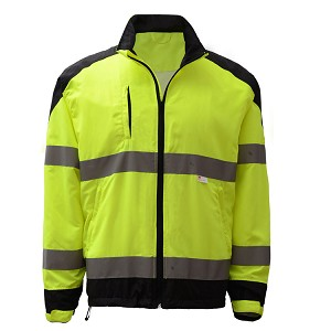 GSS Safety Premium Class 3 Zipper Windbreaker Jacket with Black Bottom