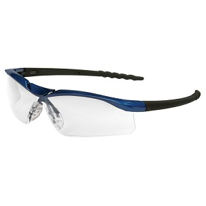 Blue Metallic Frame; Clear, Anti-Fog Lens