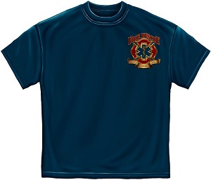 Fire Resuce Gold Shield Mens Tee Navy