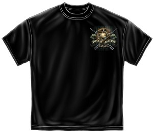 Marine Devil Dog First In Last Out Mens Tee Black