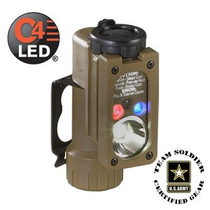 Sidewinder Compact - White C4 LED, Red, Blue, IR LEDs includes helmet mount and CR123A lithium battery. Blister Coyote