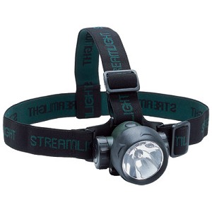 Trident with (2) White and (1) Green LED with alkaline batteries. Rubber & Elastic straps. Green